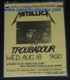 Metallica flier from August 18, 1982 at Troubadour - 19th show they ever played