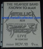 Metallica flier November 18, 1983 in Bellevue or Portland, Wash