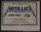 Metallica newspaper ad for small Port Jervis, NY show in January 1984