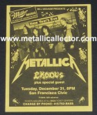 Metallica handbill December 31, 1985 at San Francisco Civic Auditorium - premier Master of Puppets