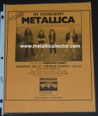 Metallica flier May 26, 1986 at Orpheum Theater in Minneapolis, MN