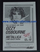 Ozzy Osbourne handbill with Metallica as opening act June 13, 1986 at Long Beach Theater